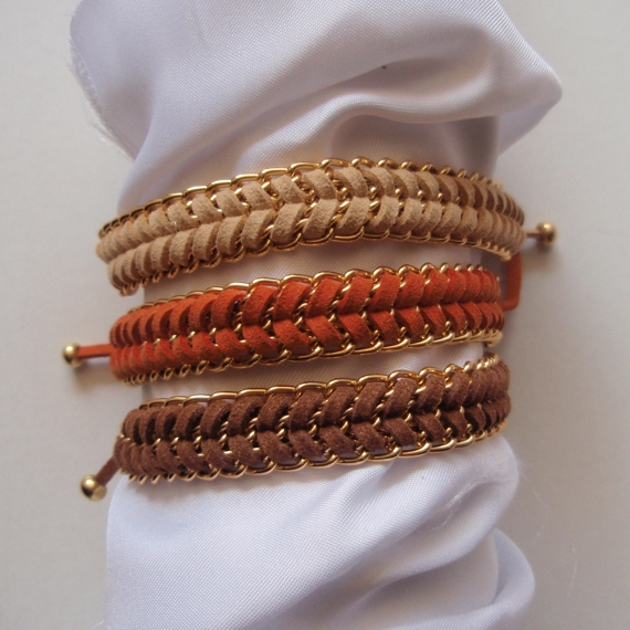 Summer tan - fishbone braid bracelet, gold chain summer trend modern gift CHOOSE your color