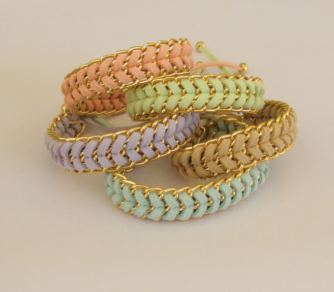 Pastel sorbet - handwoven stacking summer bracelet in mint peach beige lavender or lime CHOOSE your colour