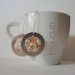 Champagne blossom wheel - dreamy romantic beaded earrings