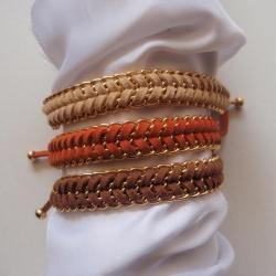 Warm neutral - fishbone braid bracelet, gold chain summer trend modern gift choose your color